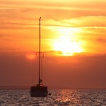 Boat in the sunset at Blakeney